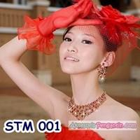 Jual Sarung Tangan Pesta Pertunangan Merah l Aksesoris Pengantin - STM 001