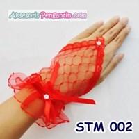 Jual Sarung Tangan Bridal Merah Modern - Aksesoris Pesta Wanita - STM 002