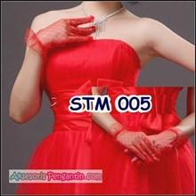 Sarung Tangan Pengantin Wanita Modern l Full Merah - STM 005