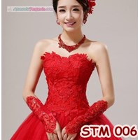 Jual Sarung Tangan Pengantin Merah Fingerless l Aksesoris Wedding - STM 006
