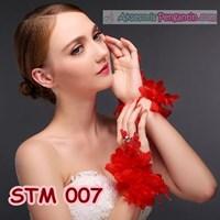 Jual Sarung Tangan Pengantin Lace Merah l Aksesoris Wedding Wanita-STM 007