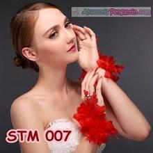 Sarung Tangan Pengantin Lace Merah l Aksesoris Wedding Wanita-STM 007