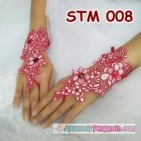 Jual Sarung Tangan Lace Brokat Pesta Merah l Aksesoris Pengantin - STM 008