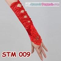 Jual Sarung Tangan Pesta Merah l Aksesoris Wedding Pengantin Modern-STM 009