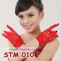 Jual Sarung Tangan Lace Wedding Merah l Aksesoris Pesta Pengantin- STM 010