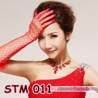 Jual Sarung Tangan Pengantin Wanita l Aksesoris Wedding Merah - STM 011