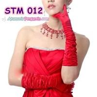 Jual Sarung Tangan Pesta Merah l Aksesoris Pengantin Wanita Modern -STM 012