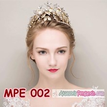 Mahkota Rambut Pesta Pengantin Emas l Aksesoris Tiara Wedding -MPE 002