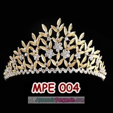 Aksesoris Crown Wedding l Mahkota Rambut Pesta Emas Pengantin -MPE 004