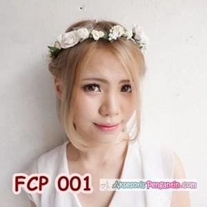 Flower Crown Putih Pesta Pengantin l Aksesoris Mahkota Bunga - FCP 001