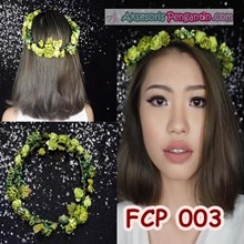 Flower Crown Green Pesta Pengantin l Aksesoris Mah