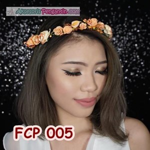 Aksesoris Flower Crown Pesta Peach l Mahkota Bunga Wedding - FCP 005