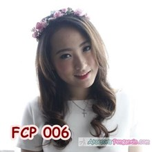 Aksesoris Flower Crown Pesta Soft Pink Pengantin-M