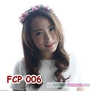 Aksesoris Flower Crown Pesta Soft Pink Pengantin-Mahkota Bunga- FCP006