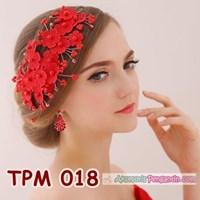 Jual Aksesoris Rambut Pesta Pengantin l Tiara Wedding Merah Wanita -TPM 018