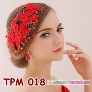 Aksesoris Rambut Pesta Pengantin l Tiara Wedding Merah Wanita -TPM 018