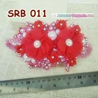 Aksesoris Rambut Pengantin Merah-Headpiece Sirkam Sanggul Pesta-SRB011