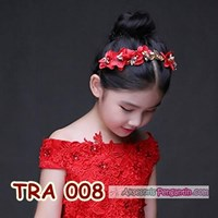 Jual Aksesoris Rambut Anak Wanita-Crown Tiara Pesta Pengantin Merah-TRA 008