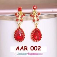 Aksesoris Anting Pesta PreWedding Merah l Perhiasan Wanita - AAR 002