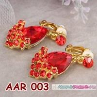 Jual Aksesoris Anting Pesta Pengantin Merah l Perhiasan Wanita - AAR 003