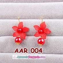 Aksesoris Anting Pesta Pengantin Bunga Merah l Perhiasan Wanita-AAR004