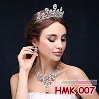 Paket Aksesoris Pengantin l Perhiasan Mahkota Kalung Wedding - HMK 007