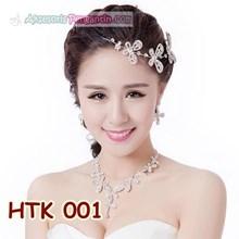 Paket Perhiasan Kalung Tiara Wanita l Aksesoris Wedding Modern-HTK 001
