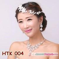 Paket Aksesoris Wedding l Perhiasan Kalung Tiara Pengantin - HTK 004