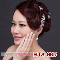 Jual Paket Aksesoris Jepit Pesta l Hiasan Rambut Pengant + Anting - HJA 005 2