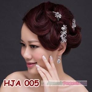 Paket Aksesoris Jepit Pesta l Hiasan Rambut Pengant + Anting - HJA 005