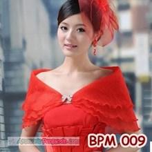 Bolero Pesta Wanita Merah l Aksesoris Cardigan Pengantin - BPM 009