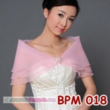 Bolero Pesta Lace Soft Pink l Aksesoris Cardigan Pengantin - BPM 018