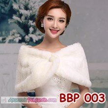 Wedding Dress Bolero Pesta Putih - Aksesoris Cardigan Bulu - BBP 003