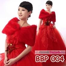 Aksesoris Cardigan Bulu Merah Pengantin l Bolero Pesta Wedding-BBP 004