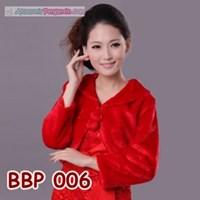 Bolero Bulu Lengan Panjang Merah Pengantin l Cardigan Wedding -BBP 006