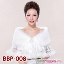 Bolero Bulu Pesta Lace Pengantin- Cardigan Wedding Putih Wanita-BBP008