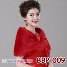 Aksesoris Cardigan Bulu Merah Wedding l Bolero Pesta Wanita - BBP 009