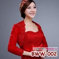 Aksesoris Bolero Pesta Wedding Lengan Panjang Merah Pengantin -BWW 002