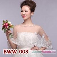 Aksesoris Bolero Pesta Wedding Lace Putih l Cardigan Pengantin-BWW 003