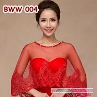 Aksesoris Bolero Pesta Wedding Lace Merah l Cardigan Pengantin-BWW 004