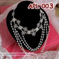 Kalung Pengantin Mutiara Cristal l Aksesoris Wedding Wanita - APL 003