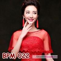 Jual Bolero Pesta Merah Wedding l Cardigan Pengantin Wanita Modern- BPM 022