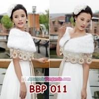 Jual Bolero Bulu Pesta Lace Wanita l Cardigan Wedding Putih Modern- BBP 011
