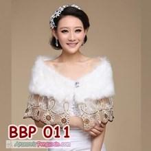 Bolero Bulu Pesta Lace Wanita l Cardigan Wedding Putih Modern- BBP 011