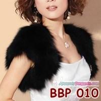 Jual Bolero Bulu Hitam Pengantin l Cardigan Pesta Wedding Wanita -BBP 010