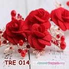 Aksesoris Rambut Pesta Merah-Hiasan Tiara Pengantin Emas Wanita-TRE014 3