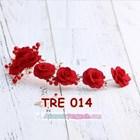 Aksesoris Rambut Pesta Merah-Hiasan Tiara Pengantin Emas Wanita-TRE014 1