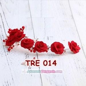 Aksesoris Rambut Pesta Merah-Hiasan Tiara Pengantin Emas Wanita-TRE014