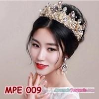 Jual Mahkota Pesta Emas Wedding Modern l Aksesoris Rambut Pengantin -MPE009