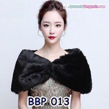 Bolero Bulu Lengan Panjang Merah Pengantin l Cardigan Wedding -BBP 013